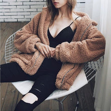 Load image into Gallery viewer, Autumn Winter Faux Fur Coat Women 2019 Casual Warm Soft Zipper Fur Jacket Plush Overcoat Pocket Plus Size Teddy Coat Female XXXL