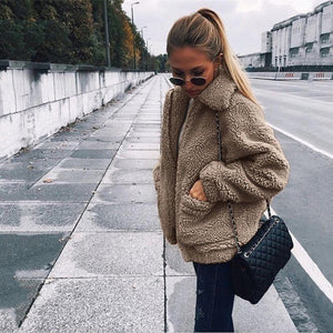 Autumn Winter Faux Fur Coat Women 2019 Casual Warm Soft Zipper Fur Jacket Plush Overcoat Pocket Plus Size Teddy Coat Female XXXL