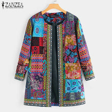 Load image into Gallery viewer, ZANZEA Ethnic Printed Cardigan Thin Coats Women's Jackets 2020 Casual Long Sleeve Blusas Open Stich Overcoats Plus Size S-5XL