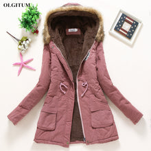 Load image into Gallery viewer, Winter women coat 2019 Women's Parka Casual Outwear Military Hooded fur Coat Down Jackets Winter Coat for Female CC001