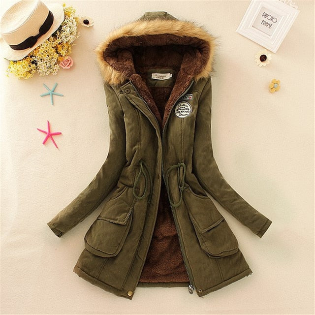 Winter women coat 2019 Women's Parka Casual Outwear Military Hooded fur Coat Down Jackets Winter Coat for Female CC001