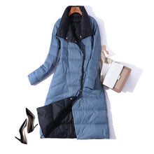 Load image into Gallery viewer, 2020 Women Winter Coat Stand Collar White Duck Down Inner Women Light Long Jacket Coat Women Coat Casaco Feminino Parkas