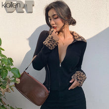 Load image into Gallery viewer, KLALIEN zipper Mosaic leopard Women Jackets Female Coat 2020 black turndown collar Long Sleeve high quality Outerwear