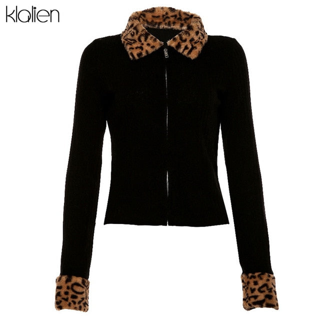 KLALIEN zipper Mosaic leopard Women Jackets Female Coat 2020 black turndown collar Long Sleeve high quality Outerwear