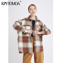 Load image into Gallery viewer, Vintage Stylish Pockets Oversized Plaid Jacket Coat Women 2020 Fashion Lapel Collar Long Sleeve Loose Female Outerwear Chic Tops