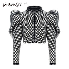 Load image into Gallery viewer, TWOTWINSTYLE Ruched Plaid Coat For Women O Neck Puff Sleeve Short Female Coat Streetwear Autumn Fashion New Clothing 2020