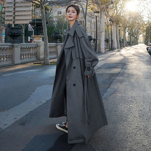 Korean Style Loose Oversized X-Long Women's Trench Coat Double-Breasted Belted Lady Cloak Windbreaker Spring Fall Outerwear Grey