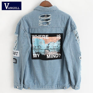 Women Frayed Denim Bomber Jacket Appliques Print Where Is My Mind Lady Vintage Elegant Outwear Autumn Fashion Coat Vangull 2018