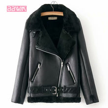 Load image into Gallery viewer, Warm Women's Winter Motorcycle Velvet Jacket Female Short Lapels Fur Thick Korean Version Plus Velvet Jacket 2020 Bomber Jacket
