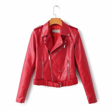Load image into Gallery viewer, New Arrival 2020 brand Winter Autumn Motorcycle leather jackets yellow leather jacket women leather coat  slim PU jacket Leather