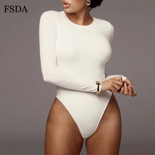 FSDA O Neck Long Sleeve Solid White Sexy Bodysuit Women Black Autumn Winter Body Top Gray Casual Lady Streetwear Bodysuits