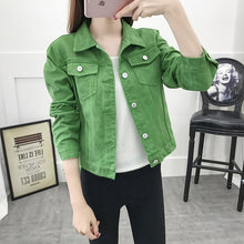 Load image into Gallery viewer, Jeans Jacket and Coats for Women 2019 Autumn Candy Color Casual Short Denim Jacket Chaqueta Mujer Casaco Jaqueta Feminina