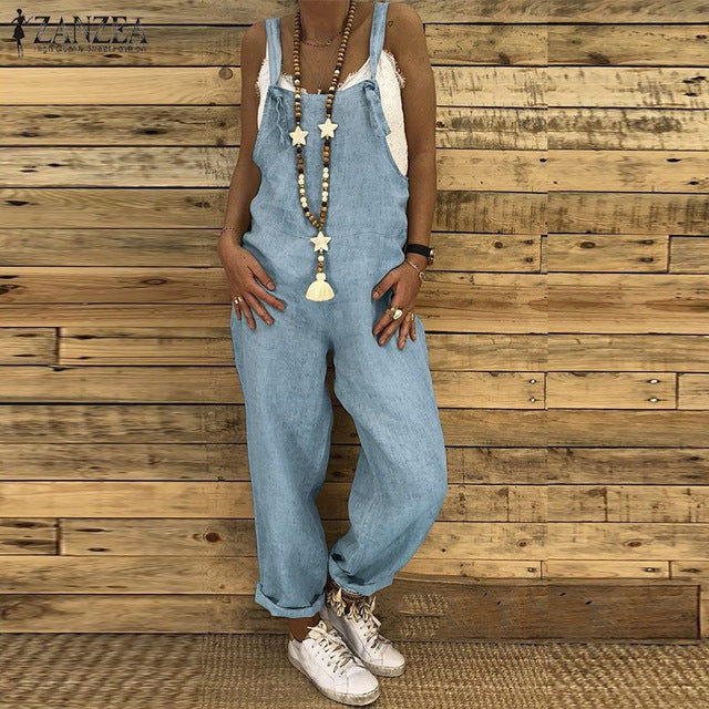 New Women Sleeveless Cotton Linen Overalls Summer Elegant Jumpsuits Romper Casual Vintage Ladies balck Pants Wide Leg Pants 5XL