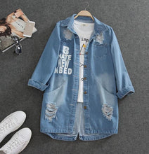 Load image into Gallery viewer, Ladies Denim Jackets Women Spring Turn Down Collar Hole Long Sleeve Casual Denim Jacket Women Jeans Coat Outerwear Plus Size 8XL