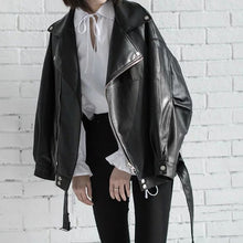 Load image into Gallery viewer, [EAM] High Quality 2020 Spring Black PU Leather Loose Turn-down Collar Zipper Fashion New Women's Wild Jacket LA938