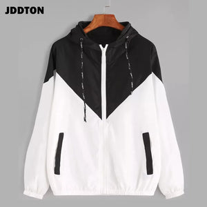 JDDTON Women's Basic Hooded Jacket Patchwork Long Sleeve Clothing Multicolor Autumn Coat Female Casual Windbreaker EU Size JE269