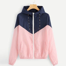 Load image into Gallery viewer, JDDTON Women's Basic Hooded Jacket Patchwork Long Sleeve Clothing Multicolor Autumn Coat Female Casual Windbreaker EU Size JE269
