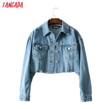 Load image into Gallery viewer, Tangada fashion women blue denim jeans jackets 2020 streetwear pocket casual pockets coat ladies short style tops FN105