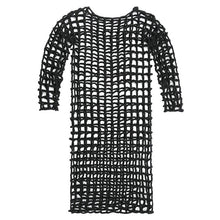 Load image into Gallery viewer, [EAM] Women Black Hollow Out Big Size Knitting Dress New Round Neck Long Sleeve Loose Fit Fashion Tide Spring Summer 2020 1W387