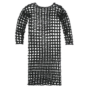 [EAM] Women Black Hollow Out Big Size Knitting Dress New Round Neck Long Sleeve Loose Fit Fashion Tide Spring Summer 2020 1W387