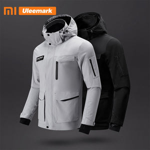 Xiaomi Men's Multi-pocke Jacket Spring Fashion Hooded Stand-up Collar Zip-through Jacket Streetwear Waterproof Coat Uleemark