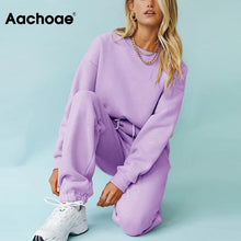 Load image into Gallery viewer, Aachoae Solid Casual Tracksuit Women Sports 2 Pieces Set Sweatshirts Pullover Hoodies Suit 2020 Home Sweatpants Shorts Outfits