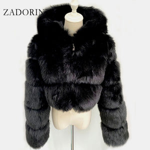 ZADORIN High Quality Furry Cropped Faux Fur Coats and Jackets Women Fluffy Top Coat with Hooded Winter Fur Jacket manteau femme