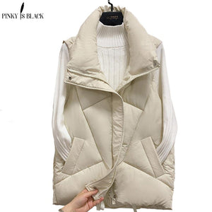 PinkyIsBlack Stand Collar Women Winter Vests 2020 New Short Vest Cotton Padded Jacket Sleeveless Female Winter Waistcoat Vest