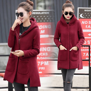 2020 Autumn Winter Women's Fleece Jacket Coats Female Long Hooded Coats Outerwear Warm Thick Female Red Slim Fit Hoodies Jackets