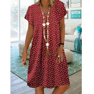 2020 Summer new casual fashion beach loose V-neck dress