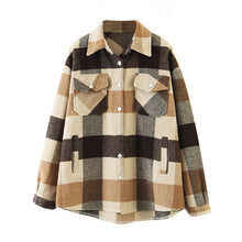 Load image into Gallery viewer, Aachoae Loose Casual Wool Plaid Jacket Women Turn Down Collar Fashion Coat With Pockets Autumn Long Sleeve Ladies Jackets Coats