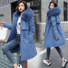 Load image into Gallery viewer, 2020 New Cotton Liner Parker Parka Fashion Adjustable Waist Fur Collar Winter Jacket Women Medium Long Hooded Parka Coat