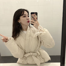 Load image into Gallery viewer, Hzirip 2020 New Design Women Winter Solid Sashes Coat Female Thick High Quality Students Outwear Sweet Women Jacket Plus Size