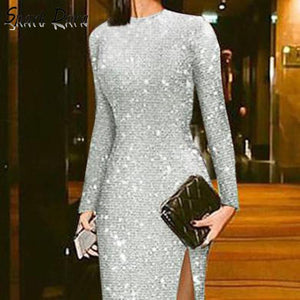 SparkDora hot Spring And Summer 2020 Elegant Silver Split Sexy Round Neck High Waist Metal Sequin A-lineDress