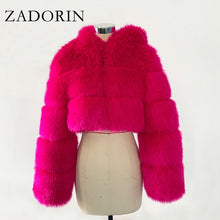 Load image into Gallery viewer, ZADORIN High Quality Furry Cropped Faux Fur Coats and Jackets Women Fluffy Top Coat with Hooded Winter Fur Jacket manteau femme