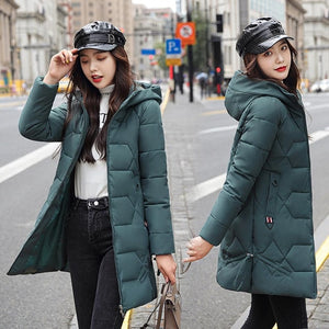 PinkyIsBlack Long Parkas Female Winter Solid Thick Jacket Women 2020 Plus Size 4XL Hooded Cotton Padded Loose Coat Ladies Jacket