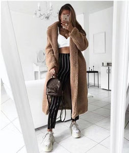 Faux Fur Teddy Coat Women Autumn Winter 2020 Casual Plus Size Long Jacket Female Thick Warm Outwear Oversize Fur mujer chaqueta