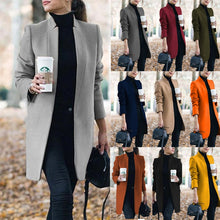 Load image into Gallery viewer, 2020 New Autumn Winter Fashion Women Wool Coat Solid Color Long Sleeve Mandarin Collar Long Causal Long Coat Big Size S-5XL Code