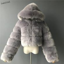 Load image into Gallery viewer, High Quality Furry Cropped Faux Fur Coats and Jackets Women Fluffy Top Coat with Hooded Winter Fur Jacket manteau femme