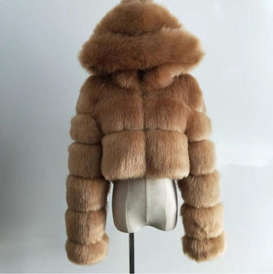 High Quality Furry Cropped Faux Fur Coats and Jackets Women Fluffy Top Coat with Hooded Winter Fur Jacket manteau femme