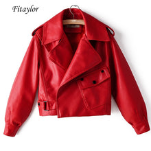 Load image into Gallery viewer, Fitaylor New Autumn Women Faux Leather Jacket Pu Motorcycle Biker Red Coat Turndown Collar Loose Streetwear Black Punk Outerwear