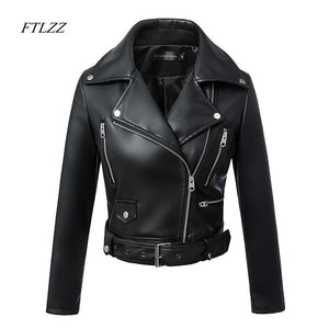 FTLZZ New Women Autumn Winter Black Faux Leather Jackets Zipper Basic Coat Turn-down Collar Motor Biker Jacket With Belt