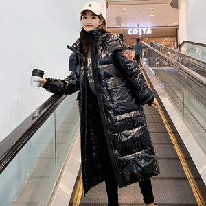 Vielleicht 2020 Hooded Ladies Coat X-Long Parkas Oversize Winter Jacket Women Glossy Winter Thick Down Cotton Jacket Women Coat
