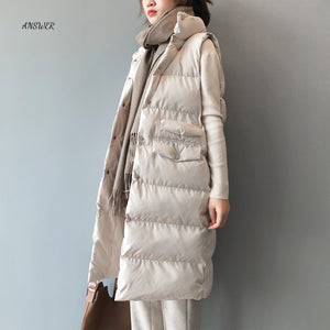 Autumn Winter Cotton Vest Women Ladies Casual Waistcoat Female Sleeveless Long Vest Jacket Slim Fit Warm Simple Coat
