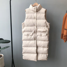 Load image into Gallery viewer, Autumn Winter Cotton Vest Women Ladies Casual Waistcoat Female Sleeveless Long Vest Jacket Slim Fit Warm Simple Coat