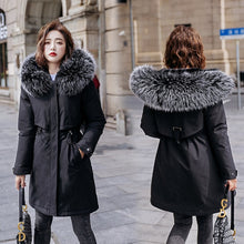 Load image into Gallery viewer, Winter Women fleece inside parkas plus size thick warm mid-Long Hooded parkas Jackets fur inside female slim padding parkas