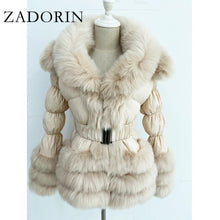 Load image into Gallery viewer, ZADORIN 2020 Winter Warm Detachable Down Jacket Women Furry FAUX Fur Collar White Duck Down Jacket Winter Down Coat With Hooded