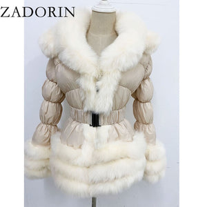 ZADORIN 2020 Winter Warm Detachable Down Jacket Women Furry FAUX Fur Collar White Duck Down Jacket Winter Down Coat With Hooded