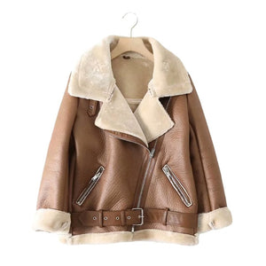 Fur Long Sleeved Loose Belt Warm Women's Jacket Lamb Wool Winter Thickened Locomotive Lapel Female Coat Beige Black Chic PU Tops