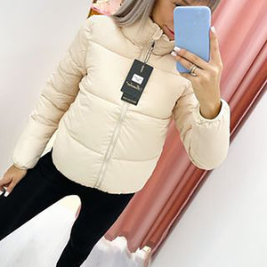 Winter Thicken Women's Short Parkas Coat Solid Stand Collar Warm Parka Female Cotton Padded 2020 Fashion Puffer Jacket For Women